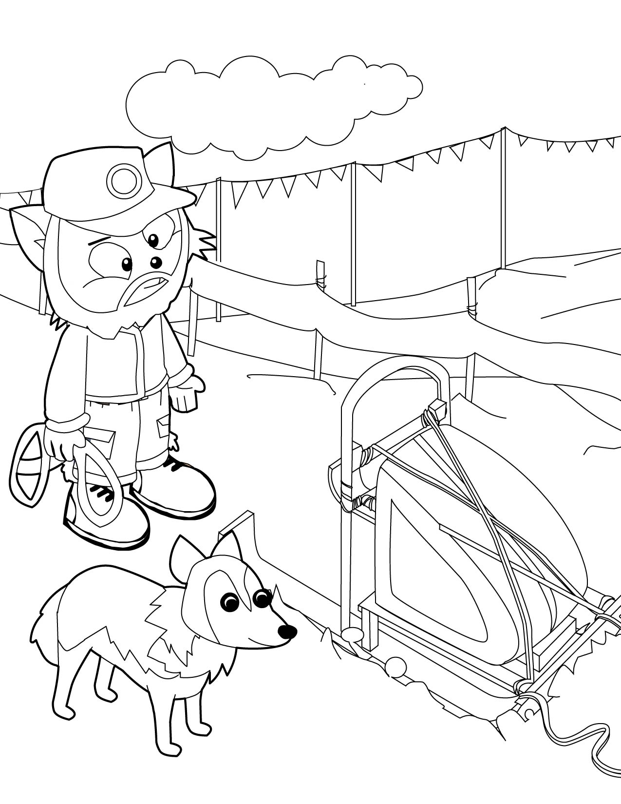 Dog Sled Race Coloring Pages Iditarod Coloring Pages