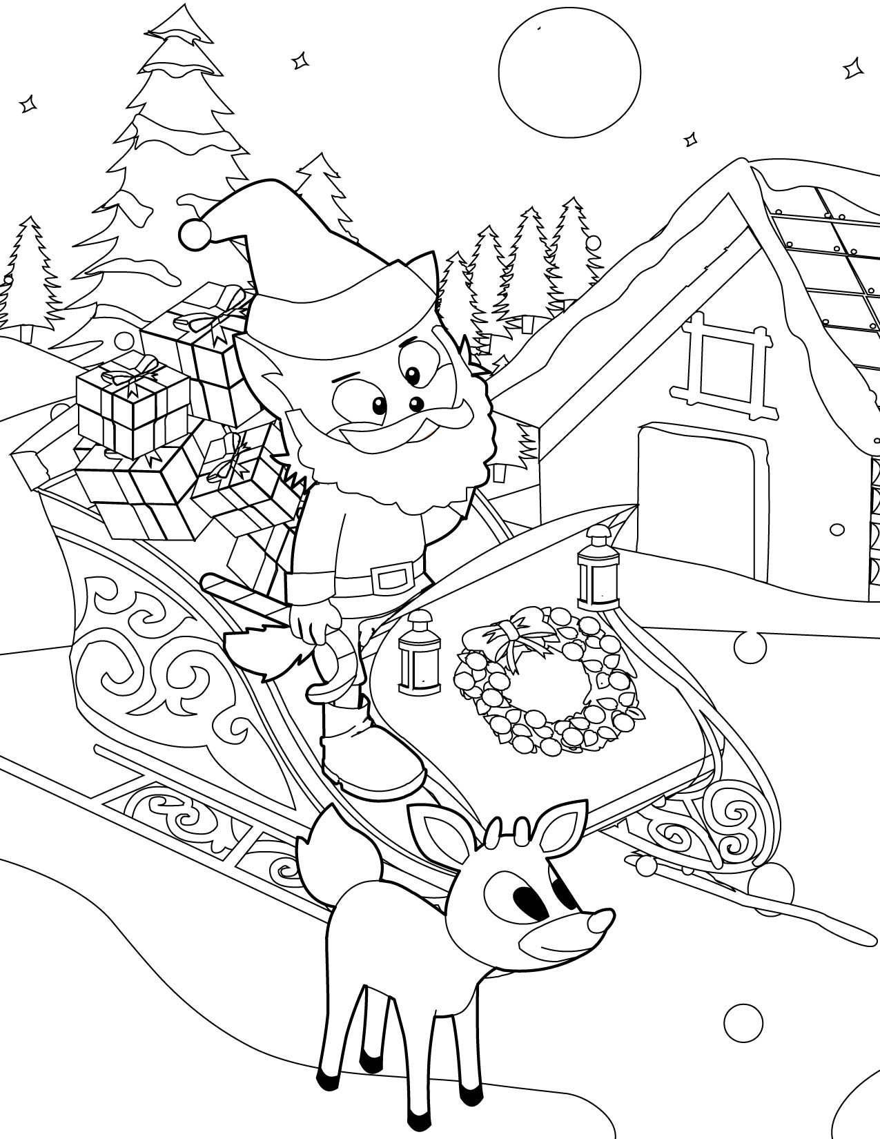 Free Coloring Pages Of Winter Theme Reindeer Coloring Page ...
