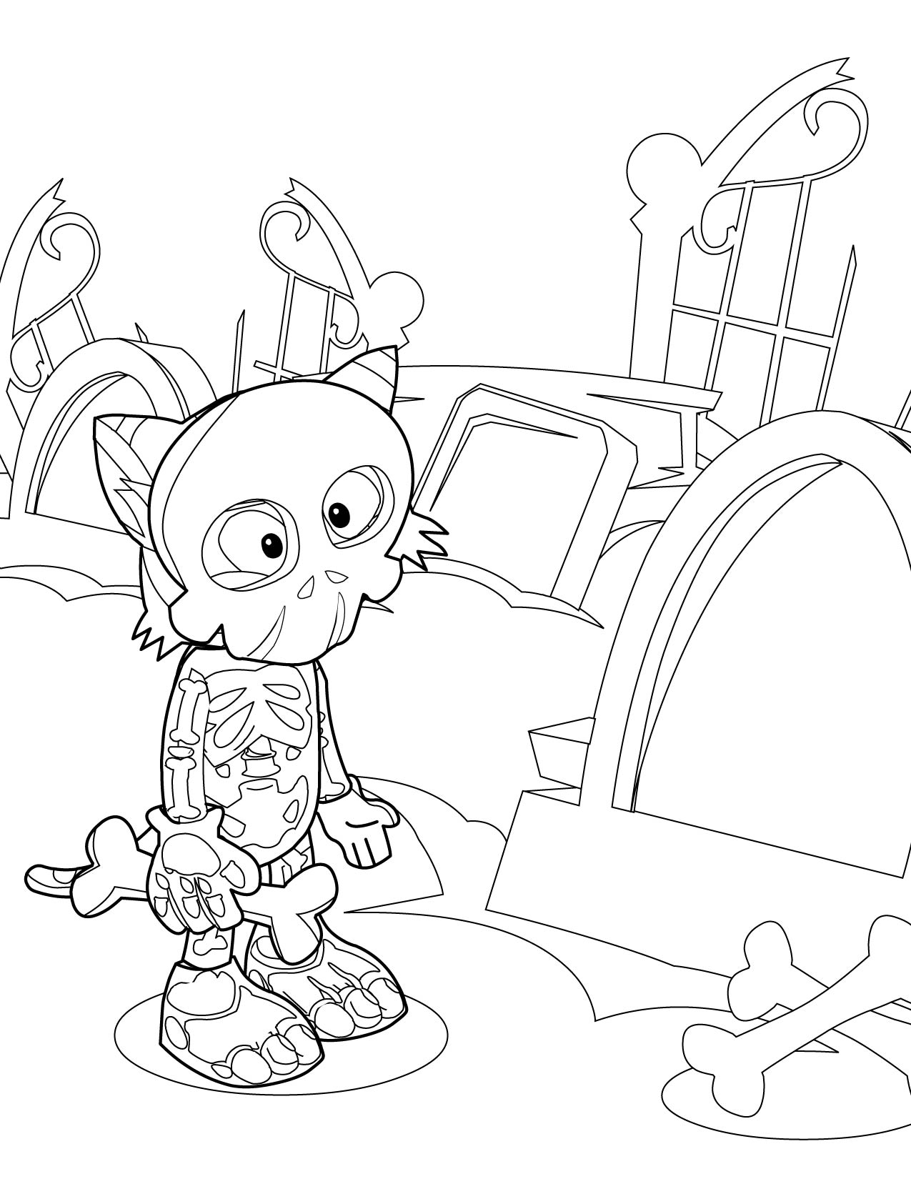 free axial skeleton coloring pages - photo#14