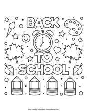 School Objects Coloring Page Classroom English Obj on Number Names ... | 226x175