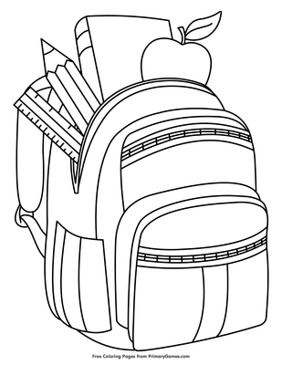 Backpack With School Supplies Coloring