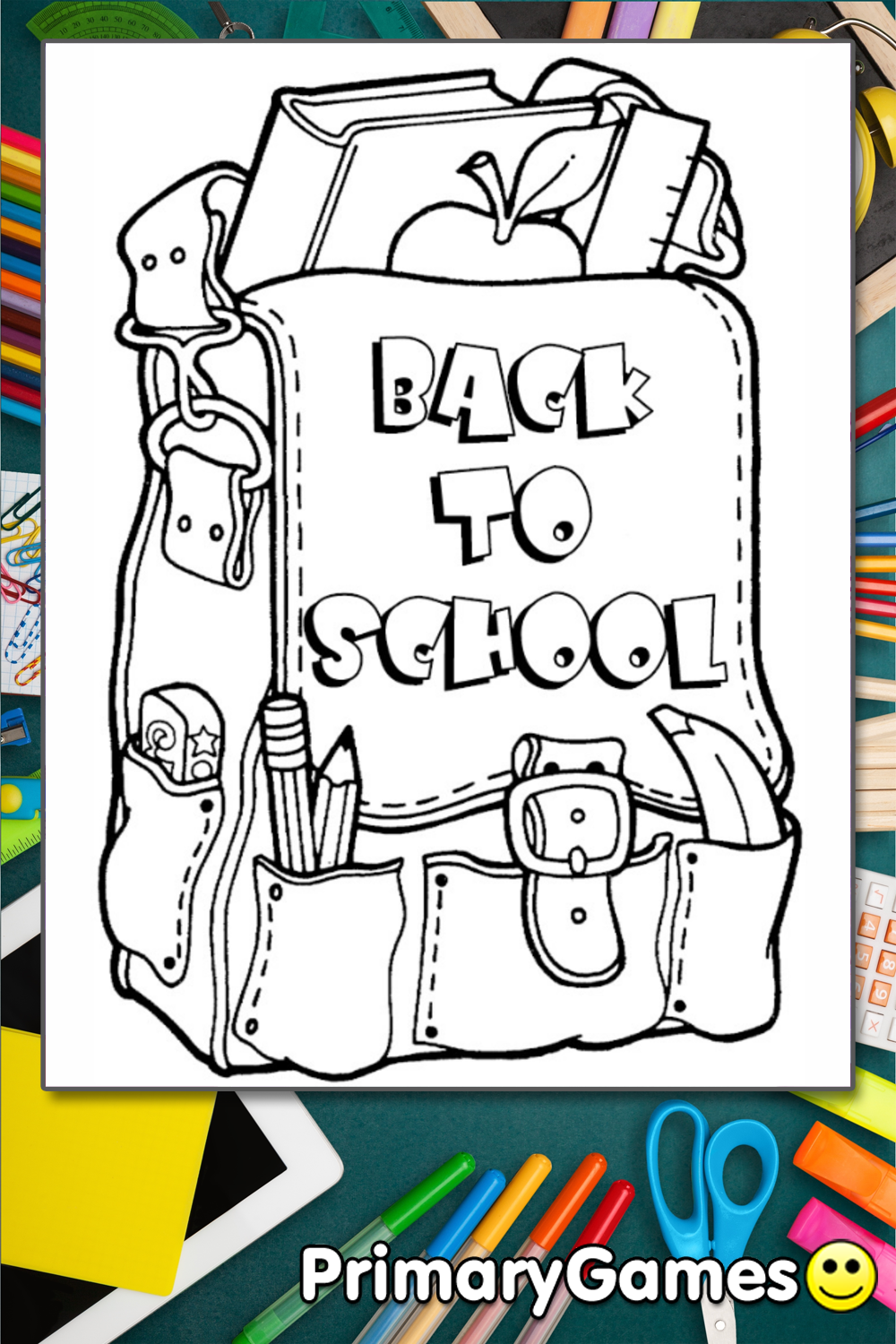 back to school backpack coloring page printable back to school coloring ebook primarygames. Black Bedroom Furniture Sets. Home Design Ideas