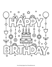 Happy Birthday Coloring Pages Printable Coloring Ebook