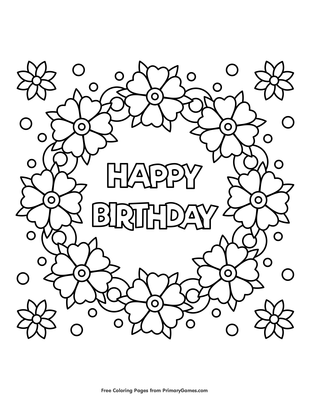 photograph relating to Happy Birthday Coloring Pages Printable titled Content Birthday Flower Wreath Coloring Site Printable Content