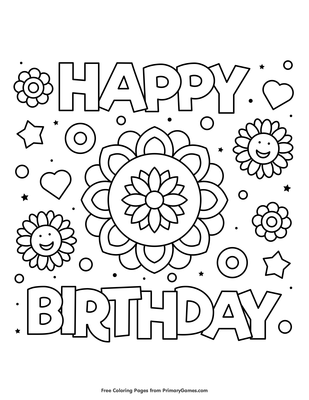 Happy Birthday Flower Coloring Page Free Printable Pdf From Primarygames