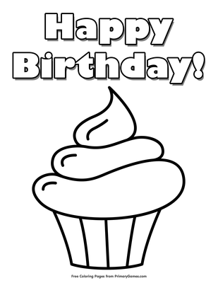 Happy Birthday Cupcake Coloring Page Free Printable Pdf From Primarygames