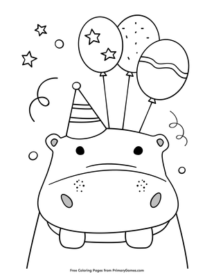 Birthday Hippo Holding Balloons Coloring Page Free