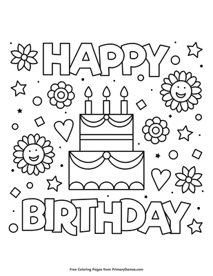 Birthday Card Coloring Pages Thank You Message Happy Page ... | 400x309