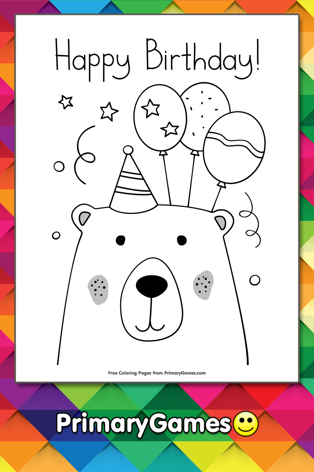 Happy Birthday Bear With Balloons Coloring Page • FREE Printable ...