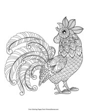 Coloring Page Zentangle Rooster