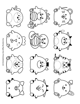 graphic relating to Chinese Zodiac Printable referred to as Adorable Chinese Zodiac Symbols Coloring Website page Printable