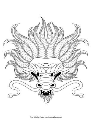 dragon head coloring page printable chinese new year coloring