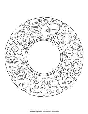 Chinese Zodiac Animals Coloring Pages - Hd Football | 400x309