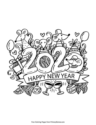 2020 Happy New Year Coloring Page Free Printable Pdf From Primarygames