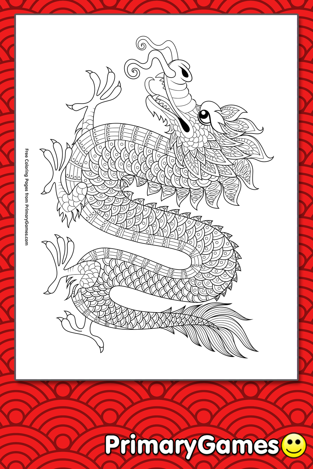 Chinese Dragon Coloring Page Free Printable Pdf From Primarygames