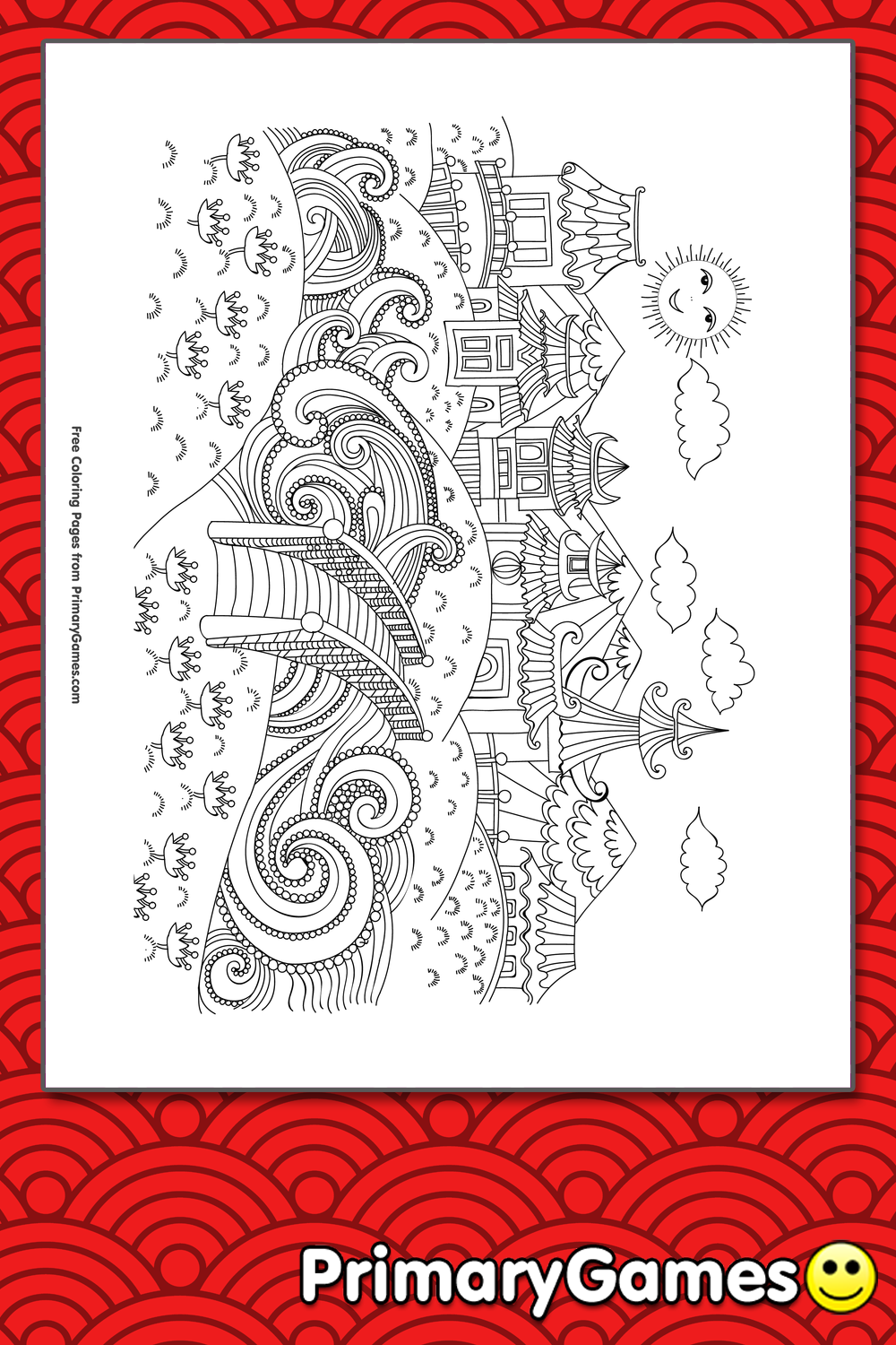 Traditional Chinese City Landscape Coloring Page