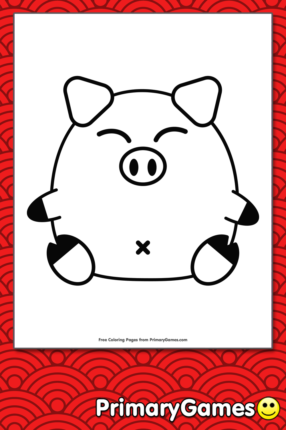 Chinese Zodiac Pig Coloring Page Printable Chinese New Year
