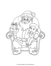 Boy Sitting On Santa's Lap
