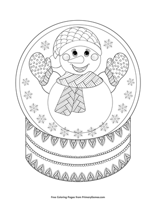 Snowman Snow Globe Coloring Page Free Printable Coloring Books