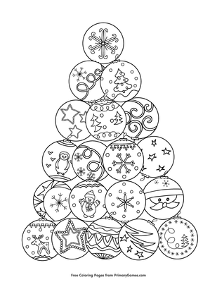 Christmas Tree with Ornaments coloring page | Free Printable ... | 400x309
