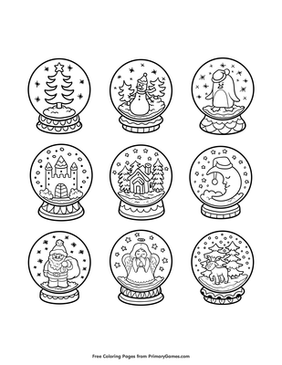image relating to Printable Globes referred to as Snow Globes Coloring Web site Printable Xmas Coloring