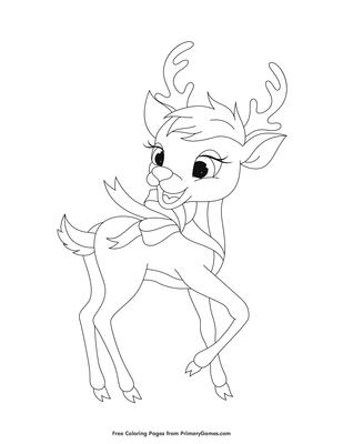 Cute Reindeer Coloring Page Printable Christmas Coloring Ebook