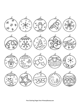 Christmas Ornaments Coloring Page Free Printable Pdf From Primarygames