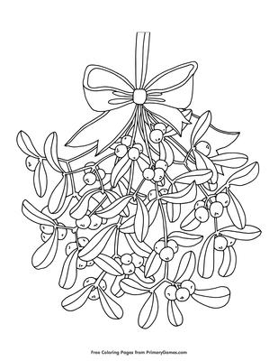 Printable Mistletoe Christmas Coloring Page for Kids #2 – SupplyMe   400x309