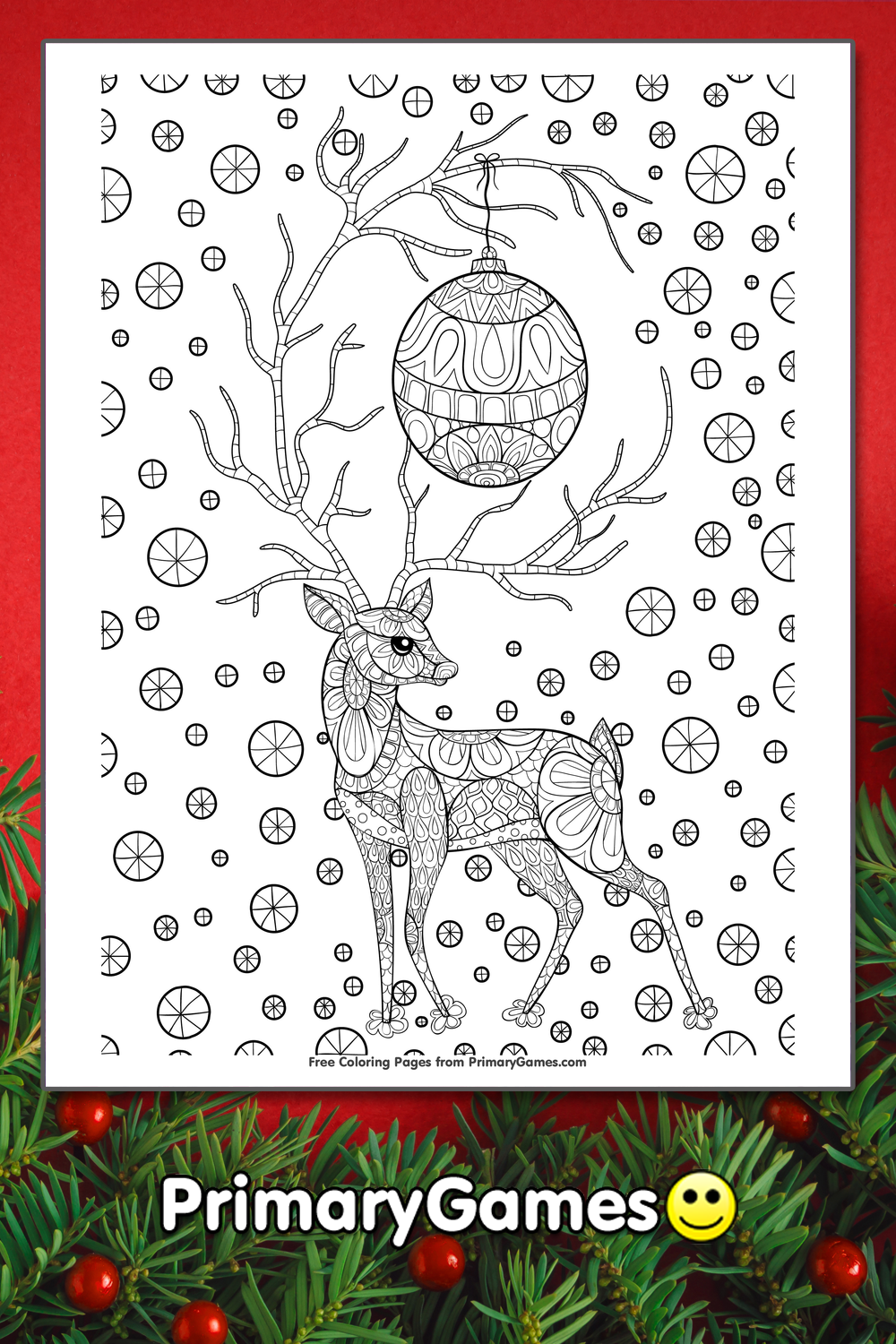 Zentangle Christmas Reindeer Coloring