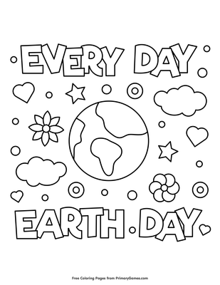 Every Day Earth Day Coloring Page Printable Earth Day Coloring