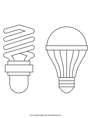 picture regarding Light Bulb Printable identify Little Fluorescent and LED Light-weight Bulbs Coloring Site