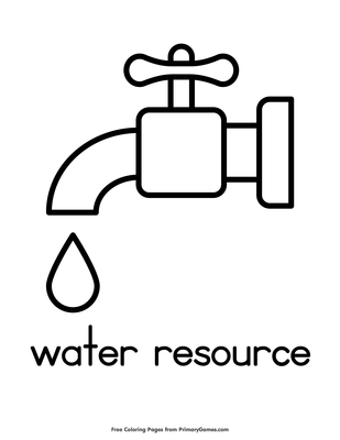 Water Resource Coloring Page • Free Printable Coloring Books