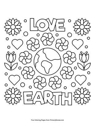 Love Earth Coloring Page Free Printable Pdf From Primarygames