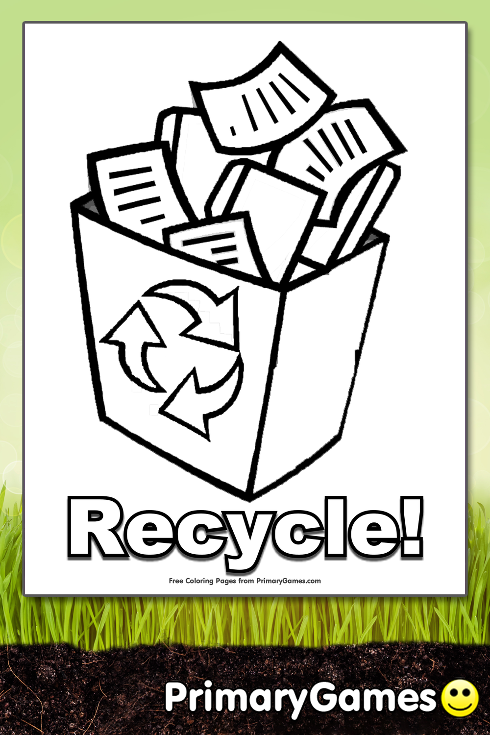 Recycle Coloring Page Printable Earth Day Coloring Ebook