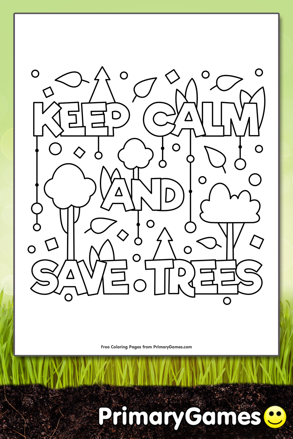 keep calm and save trees coloring page