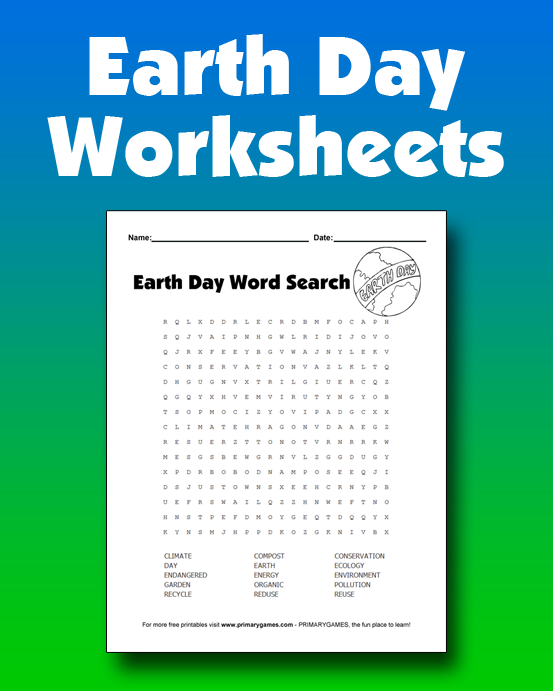 Earth Day Worksheets • Free Online Games at PrimaryGames