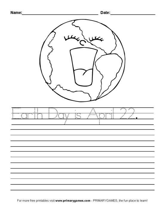 Earth day worksheets earth day handwriting practice primarygames play free online games