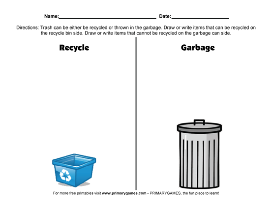 Earth Day Worksheets: Recycling Versus Garbage - PrimaryGames ...