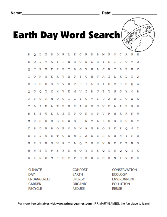 Earth Day Worksheets Earth Day Wordsearch Puzzle Primarygames