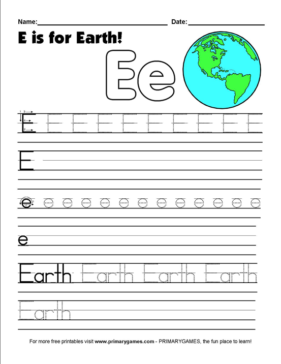 Earth Day Worksheets E Is For
