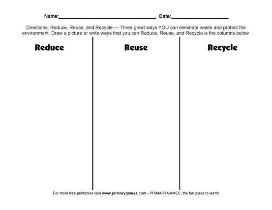 Earth Day Worksheets: Reduce, Reuse, Recycle! - PrimaryGames - Play ...