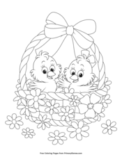 Baby Chicks and Flowers in a Basket
