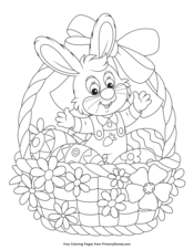 Easter Coloring Pages EBook Mrs And Bunny With Basket