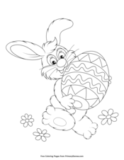 Easter Coloring Pages EBook Basket With Eggs And Bunny