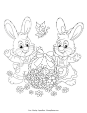 Mrs. and Mrs. Bunny with Easter Basket