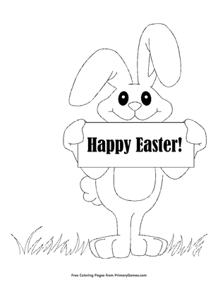 Happy Easter Bunny Coloring Page Free Printable Pdf From Primarygames
