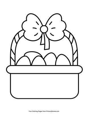 Simple Easter Basket Coloring Page | Printable Easter ...