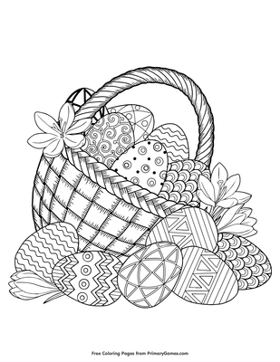 Easter Basket Filled With Eggs Coloring Page Printable Easter