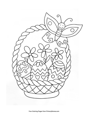 photo relating to Printable Easter Basket known as Easter Basket Coloring Webpage Printable Easter Coloring