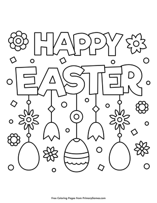 Happy Easter Coloring Page | Printable Easter Coloring eBook ...